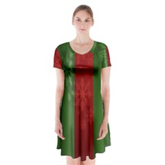 Background Christmas Short Sleeve V-neck Flare Dress