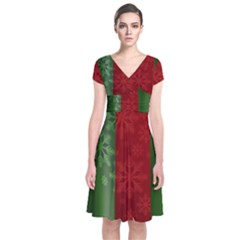 Background Christmas Short Sleeve Front Wrap Dress