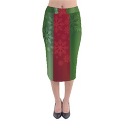 Background Christmas Velvet Midi Pencil Skirt