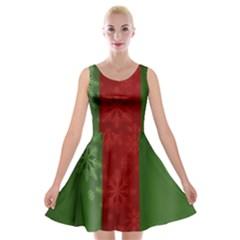 Background Christmas Velvet Skater Dress