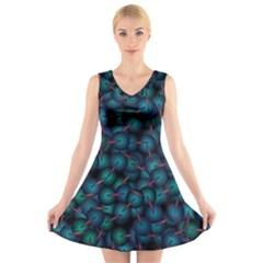 Background Abstract Textile Design V Neck Sleeveless Skater Dress