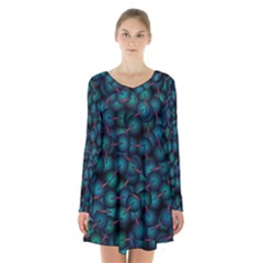 Background Abstract Textile Design Long Sleeve Velvet V Neck Dress