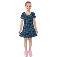 Background Abstract Textile Design Kids  Short Sleeve Velvet Dress