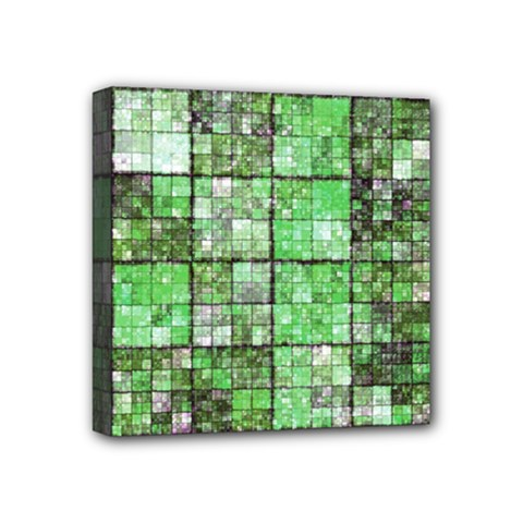 Background Of Green Squares Mini Canvas 4  x 4