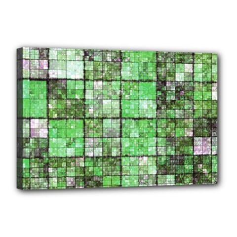 Background Of Green Squares Canvas 18  x 12