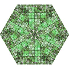 Background Of Green Squares Mini Folding Umbrellas