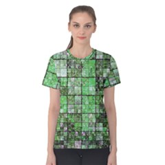 Background Of Green Squares Women s Cotton Tee