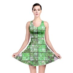 Background Of Green Squares Reversible Skater Dress