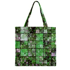 Background Of Green Squares Zipper Grocery Tote Bag
