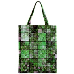 Background Of Green Squares Zipper Classic Tote Bag