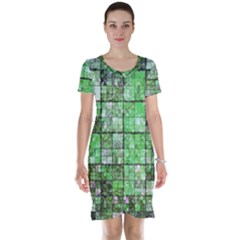 Background Of Green Squares Short Sleeve Nightdress
