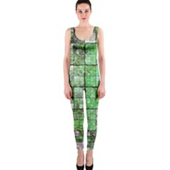 Background Of Green Squares OnePiece Catsuit