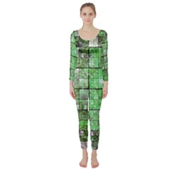 Background Of Green Squares Long Sleeve Catsuit