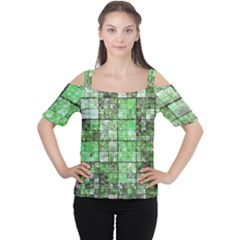 Background Of Green Squares Women s Cutout Shoulder Tee