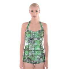 Background Of Green Squares Boyleg Halter Swimsuit