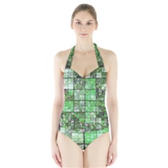 Background Of Green Squares Halter Swimsuit