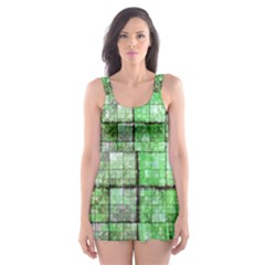 Background Of Green Squares Skater Dress Swimsuit