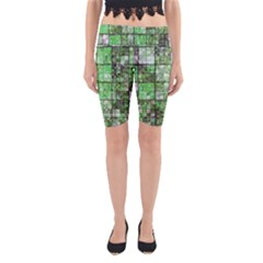 Background Of Green Squares Yoga Cropped Leggings