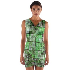 Background Of Green Squares Wrap Front Bodycon Dress