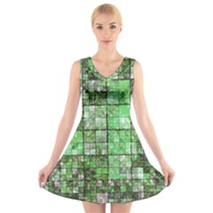 Background Of Green Squares V Neck Sleeveless Skater Dress