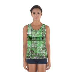 Background Of Green Squares Women s Sport Tank Top