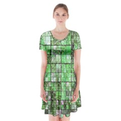 Background Of Green Squares Short Sleeve V-neck Flare Dress