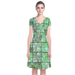 Background Of Green Squares Short Sleeve Front Wrap Dress