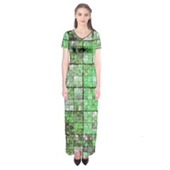 Background Of Green Squares Short Sleeve Maxi Dress