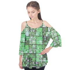 Background Of Green Squares Flutter Tees