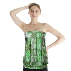 Background Of Green Squares Strapless Top