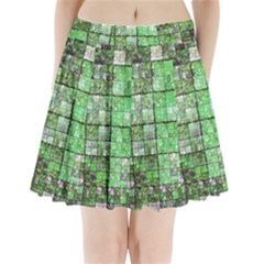 Background Of Green Squares Pleated Mini Skirt