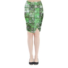 Background Of Green Squares Midi Wrap Pencil Skirt