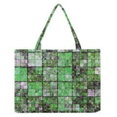 Background Of Green Squares Medium Zipper Tote Bag