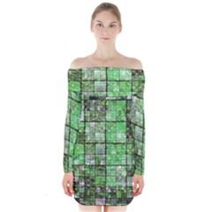 Background Of Green Squares Long Sleeve Off Shoulder Dress