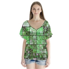 Background Of Green Squares Flutter Sleeve Top