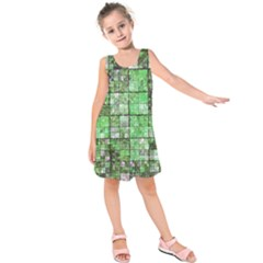 Background Of Green Squares Kids  Sleeveless Dress