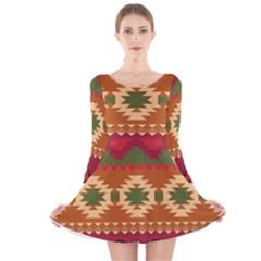 Background Plot Fashion Long Sleeve Velvet Skater Dress