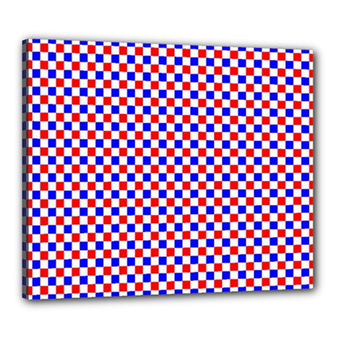 Blue Red Checkered Canvas 24  x 20