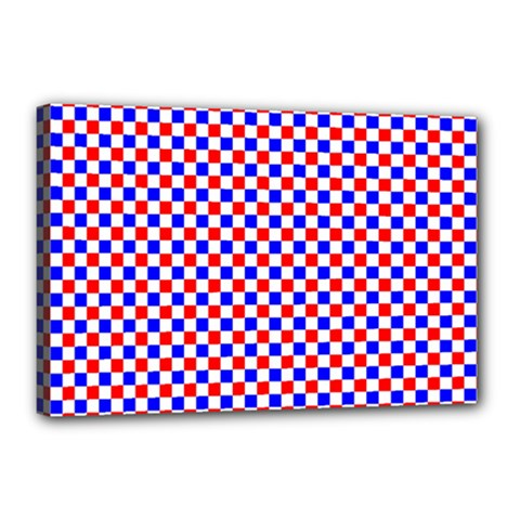 Blue Red Checkered Canvas 18  x 12