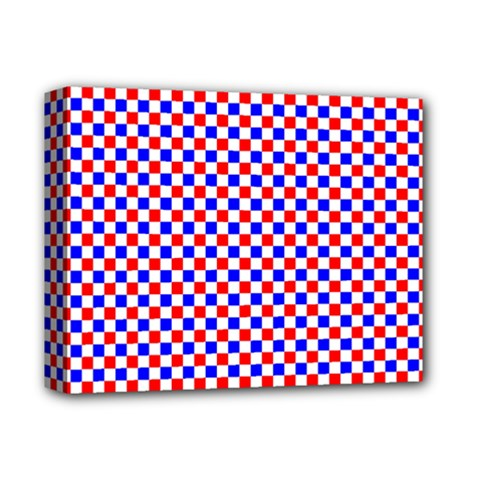 Blue Red Checkered Deluxe Canvas 14  x 11