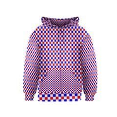 Blue Red Checkered Kids  Zipper Hoodie