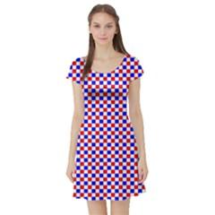 Blue Red Checkered Short Sleeve Skater Dress