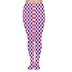 Blue Red Checkered Women s Tights
