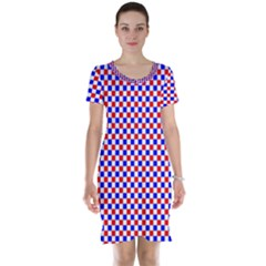 Blue Red Checkered Short Sleeve Nightdress