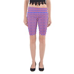 Blue Red Checkered Yoga Cropped Leggings