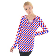 Blue Red Checkered Women s Tie Up Tee