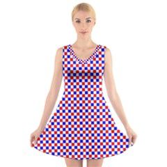 Blue Red Checkered V Neck Sleeveless Skater Dress