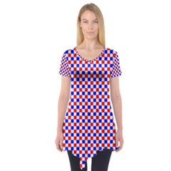 Blue Red Checkered Short Sleeve Tunic