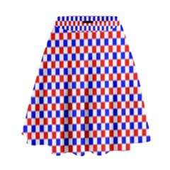 Blue Red Checkered High Waist Skirt
