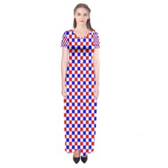 Blue Red Checkered Short Sleeve Maxi Dress